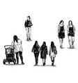 drawing woman walking show isolate sketch vector image vector image