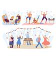 elderly senior people music cartoon characters vector image