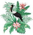 exotic print realistic stork leaves flowers vector image