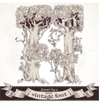 Fable forest hand drawn by a vintage font - H vector image vector image