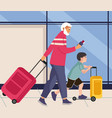 family in airport man and boy walks with baggage vector image vector image