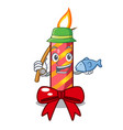 fishing christmas candle combined with pita vector image vector image