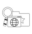 folder with website and magnifying glass in black vector image