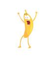 funny frightened banana cartoon fruit character vector image vector image