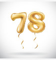 golden number 78 seventy eight metallic balloon vector image vector image