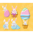 happy easter rabbit set vector image