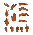 image of cartoon black man negro human hand vector image vector image