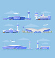 international airport terminal architecture set vector image