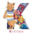 Letter K kitten vector image vector image