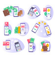 mobile payment financial transaction isolated set vector image