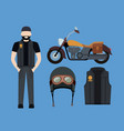 motorcyclist and classic yellow motorcycle with vector image vector image