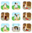 muslim people doing their religious activities vector image vector image