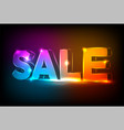 neon sale sign on dark wall background editable vector image vector image