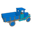 old retro blue car on white background vector image vector image