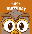 owl cute birthday card vector image vector image