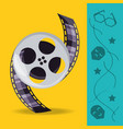 reel with filmstrips to cinematography production vector image vector image