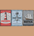 sailing ship aqualung anchor and lighthouse vector image vector image