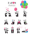 set of cartoon funny pandas vector image vector image