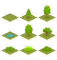 Set of Trees and Bushes Isometric Style for Game vector image vector image