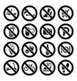 set prohibited symbols shop black signs vector image vector image