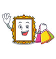 shopping picture frame character cartoon vector image vector image