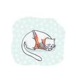 sleeping cat christmas card clipart hand drawn vector image