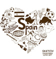 Spanish symbols in heart shape concept vector image