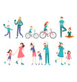 sport family people couple with kids on fitness vector image vector image