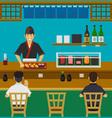 Sushi Bar Japanese Restaurant vector image vector image