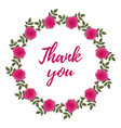 thank you card with rose wreath vector image vector image
