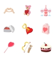 Valentines day icons set cartoon style vector image