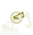 vintage retro backhoe excavator logo design vector image vector image