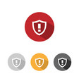 warning shield icon with shade on colored buttons vector image