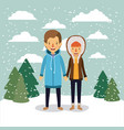 winter people background with couple in colorful vector image vector image