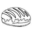 bun with chocolate vector image