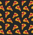seamless pattern fast food pizza black background vector image