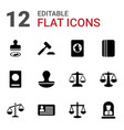 12 legal icons vector image vector image