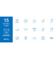 15 menu icons vector image vector image