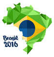 Abstract Brasil 2016 logo with national flag vector image