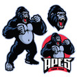 angry gorilla mascot standing vector image vector image