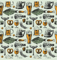 beer mug and food products seamless pattern vector image vector image