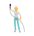 blonde female reporter character standing with a vector image vector image