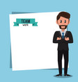 business teamwork cartoon frame vector image vector image