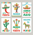 cards with mexican symbols vector image vector image