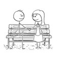cartoon of loving couple sitting on park bench or vector image vector image