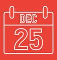 christmas calendar line icon christmas vector image vector image