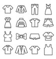 clothing icons set on white background line style vector image vector image