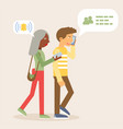couple using gadgets flat vector image