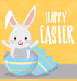 cute rabbit coming out easter egg vector image vector image