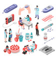 diabetes treatment isometric set vector image vector image
